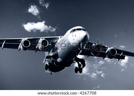Airplane on landing - stock photo