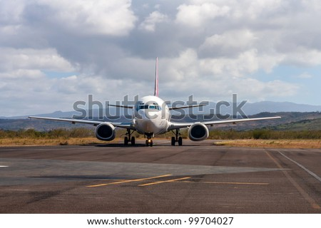 Airplane on the Arrachart airport of Antsiranana (Diego Suarez), north of Madagascar - stock photo