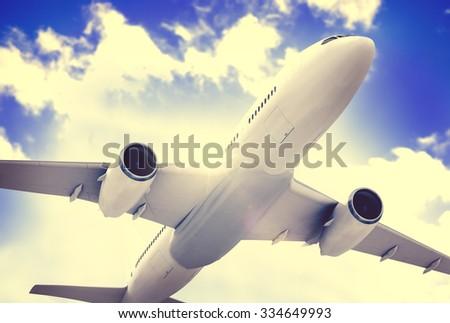 Airplane Plane Flying Aircraft Transportation Travel - stock photo