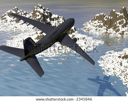 airplane silouette over ocean background - stock photo