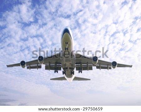 Airplane take off - stock photo