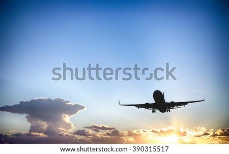 Airplane taking off. - stock photo