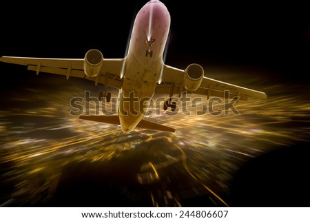 Airplane taking off from Shanghai City,china - stock photo