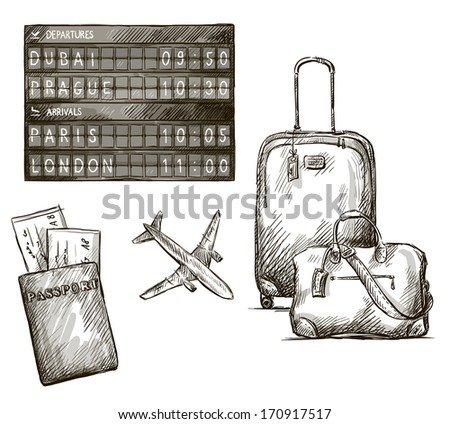 Airplane travel doodles. Hand drawn.  - stock photo