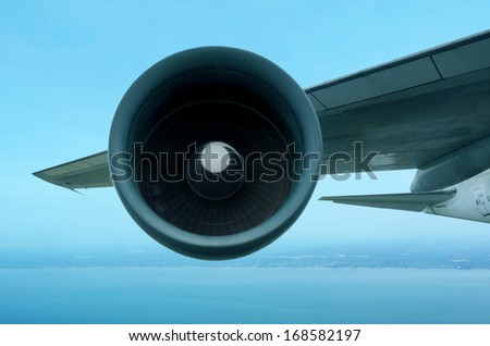 Airplane turbine on fly   - stock photo