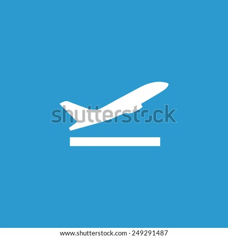 airplane up icon, isolated, white on the blue background. Exclusive Symbols  - stock photo