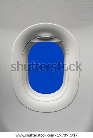 Airplane window Blue screen - stock photo
