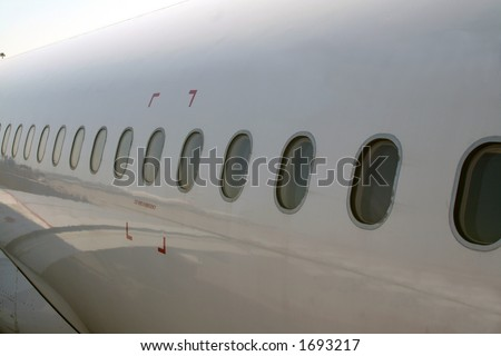 Airplane windows - stock photo