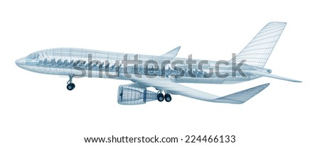 Airplane wire model , isolated on white. My own design - stock photo