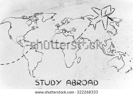 airplane with graduation hat flying above world map, study abroad - stock photo