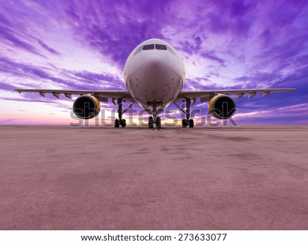 airplane with nice sky - stock photo