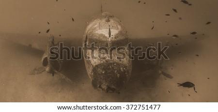 Airplane wreck - stock photo