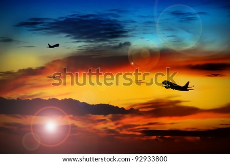 airplanes/airplanes ballet/evening shot on starting airplanes - stock photo