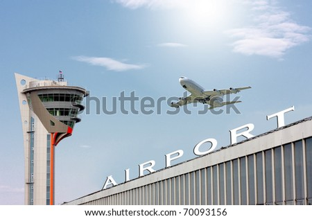 airport and the big plane in blue sky - stock photo