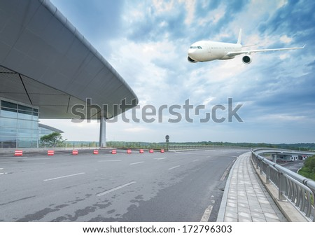 airport building in beijing china. - stock photo