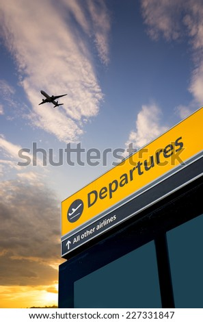 Airport Departure and Arrival sign at Heathrow, London - stock photo