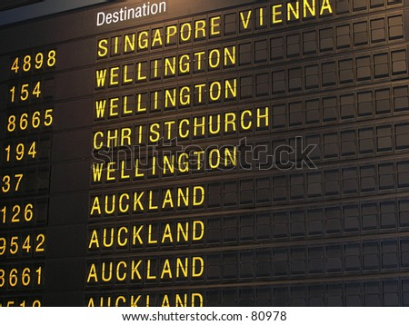 Airport departure board - stock photo