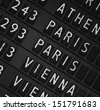 Airport departure display board background - stock photo