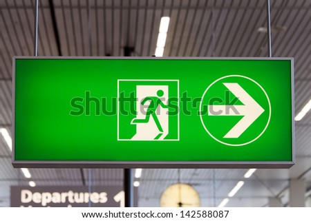 airport exit sign - stock photo
