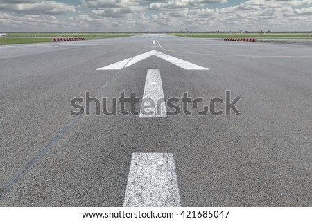 Airport guideline arrow with gap for own content leading forward - stock photo