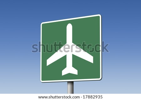 Airport  highway sign against blue sky - stock photo