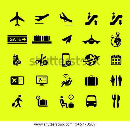 Airport icon set - stock photo