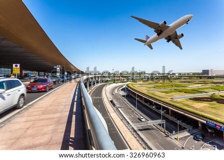 airport in Beijing china - stock photo