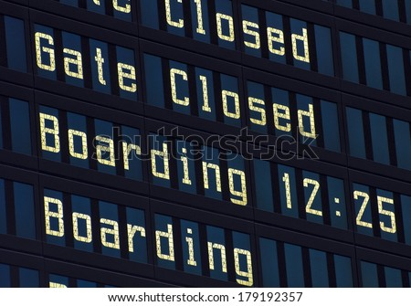 Airport information board. - stock photo