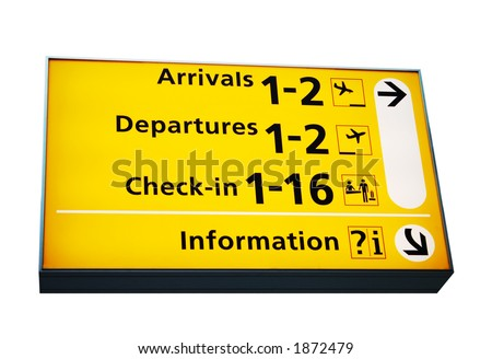 airport information sign, isolated on white - stock photo