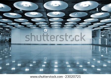 airport interior and lights, madrid, spain - stock photo