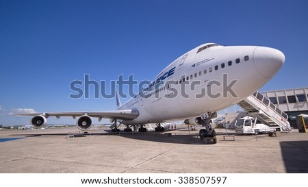 Airport Le Bourget, France - August 20, 2013 : The double-deck Boeing 747, the world's second largest passenger commercial airplane at the airport Le Bourget, Paris, France. - stock photo