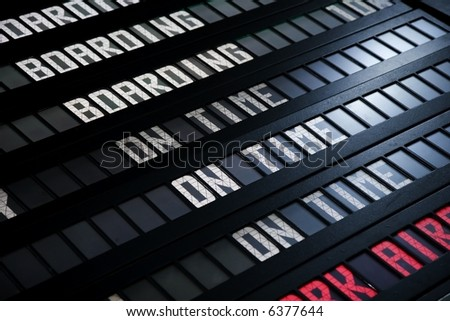Airport or train station departure board - stock photo