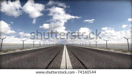 Airport runway - stock photo
