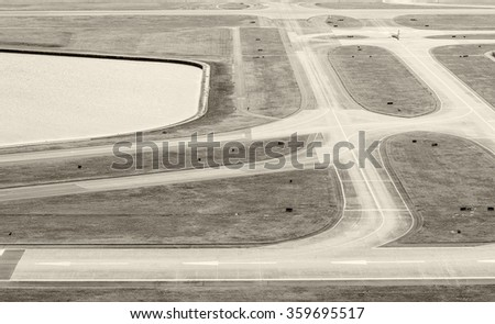 Airport runway, aerial view. - stock photo