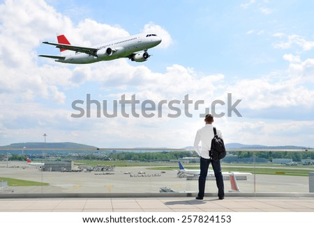 Airport scene - stock photo