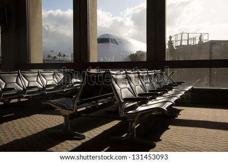 airport sign and scene - stock photo