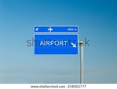 Airport sign isolated on a highway - stock photo