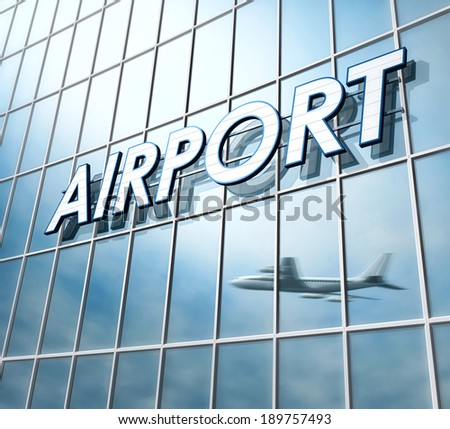 Airport sign on the facade of a modern building with airplane reflection - stock photo