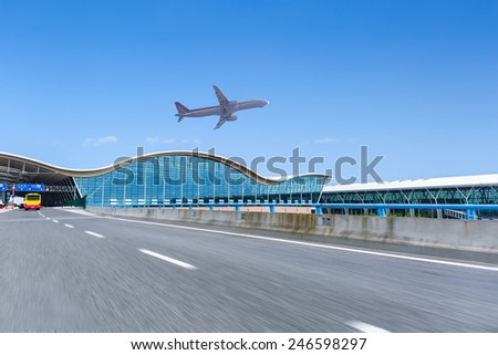 airport terminal background ,aircraft and highway with blue sky - stock photo