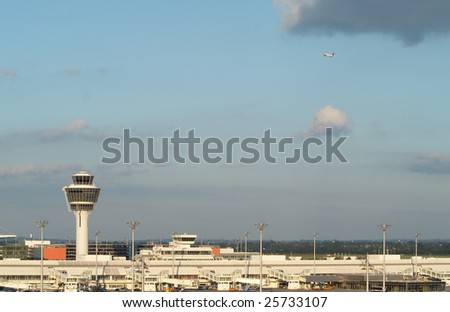 Airport terminal in Munich; Bayern; Germany - stock photo