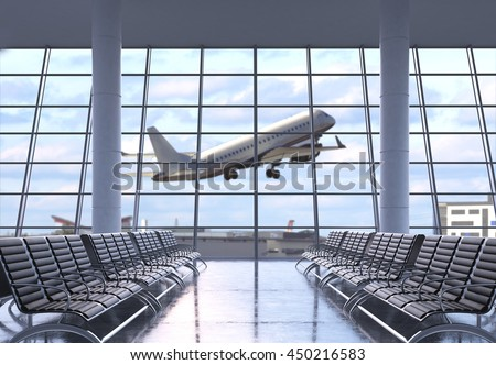 Airport terminal interior with rows of empty seats, city view and a flying by airplane. 3D Rendering - stock photo