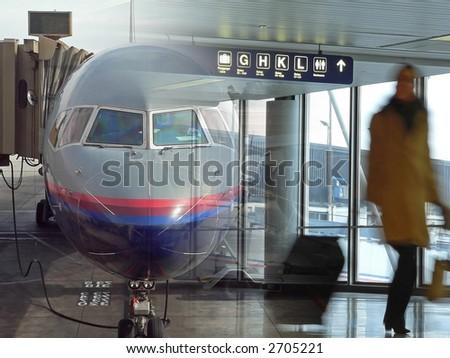 Airport Traveler - stock photo