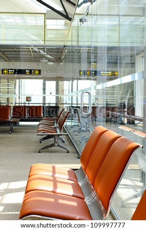 Airport waiting area and seats - stock photo