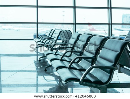 airport waiting area seats  - stock photo