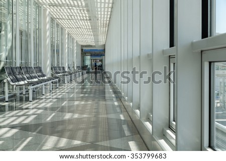 Airport, waiting room, traveler area - stock photo
