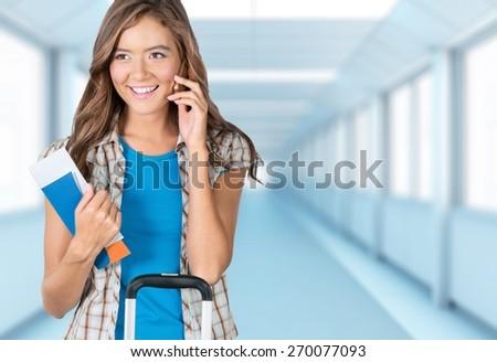 Airport, Women, Tourist. - stock photo