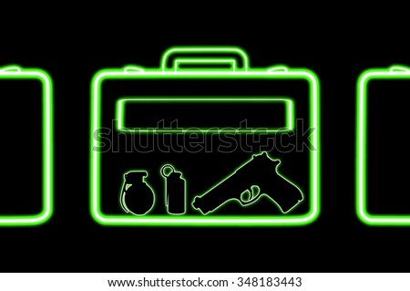 Airport xray scan bag as terrorism concept with gun, pistol and bomb or grenade - stock photo
