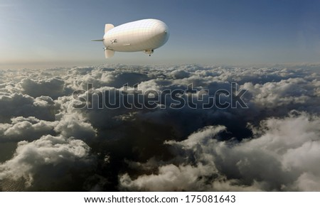 airship flying in the sky - stock photo