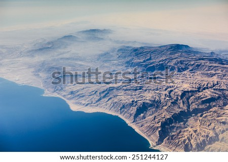 Airview of the desert and sea coast - stock photo