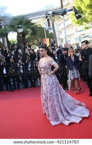 Aishwarya Rai attends the screening of 'From The Land Of The Moon (Mal De Pierres)' at the annual 69th Cannes Film Festival at Palais des Festivals on May 15, 2016 in Cannes, France. - stock photo